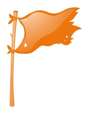 wooden stick: Orange flag on wooden stick illustration