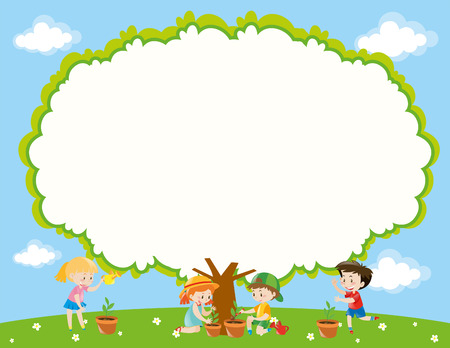 planting tree: Frame template with kids planting tree in garden illustration