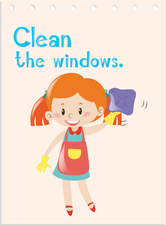verb: Action verb flashcard with girl cleaning windows illustration