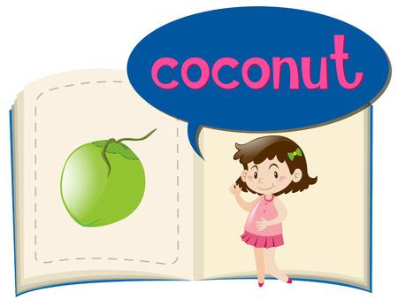 Fresh coconut on book illustration Illustration