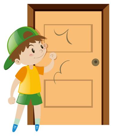 Kleiner Junge an der Tür klopfen Illustration Standard-Bild - 66895225