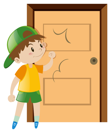 Little boy knocking on the door illustration