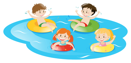Four kids swimming in pool illustration Vectores