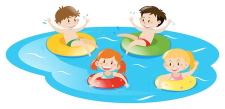 Vier Kinder im Pool schwimmen Illustration Standard-Bild - 66895236