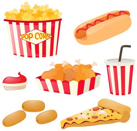 fastfood: Fastfood set with hotdog and popcorn illustration