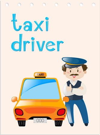 Occupation wordcard with taxi driver illustration Illustration