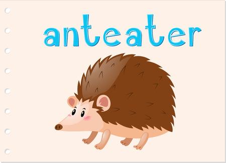 Animal flashcard with anteater illustration