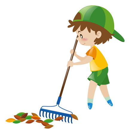 raking: Boy raking dried leaves illustration Illustration
