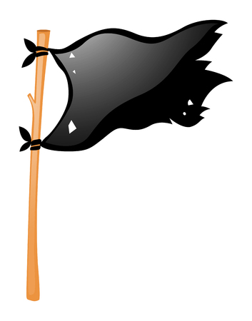 wooden stick: Black flag on wooden stick illustration
