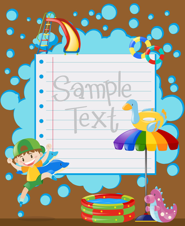 Paper template with happy boy jumping illustration Illustration