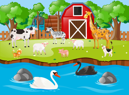Many animals on the farmyard illustration