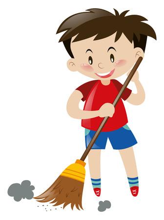 ほうきのイラストが床を掃除の少年