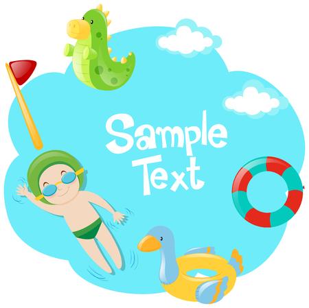 Border design with kids swimming illustration