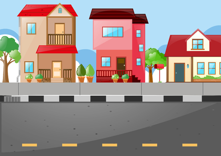 Neighborhood scene with many houses on the road illustration Stock Illustratie