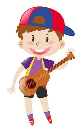 Happy boy with ukulele illustration