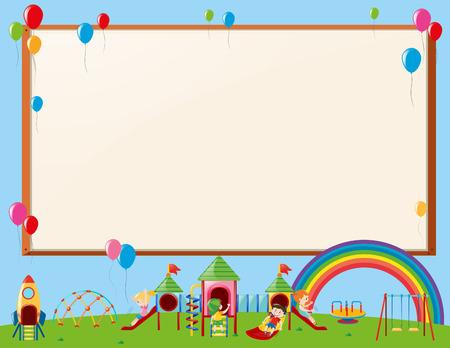 Frame design with kids in playground illustration  イラスト・ベクター素材