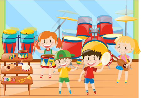 musical instrument: Children and musical instrument in classroom illustration Illustration