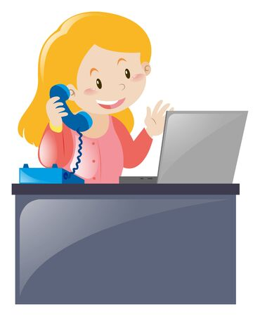 answering: Office worker answering the phone illustration