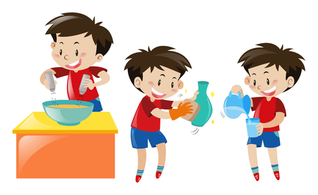 Boy cooking and cleaning illustration