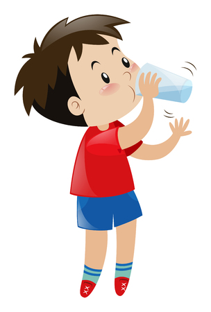 Boy drinking water from glass illustration