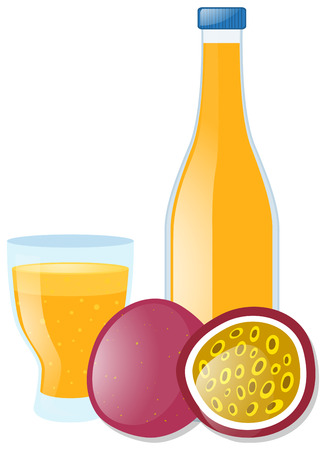 passion fruit: Passion fruit juice in glass and bottle illustration