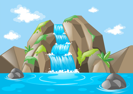 Scene with waterfall and mountains illustration Illustration