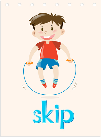 skip: Action verb flashcard with word skip illustration