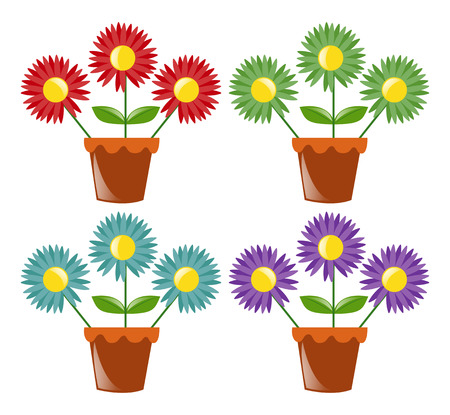flower pots: Four flower pots with flowers illustration Illustration