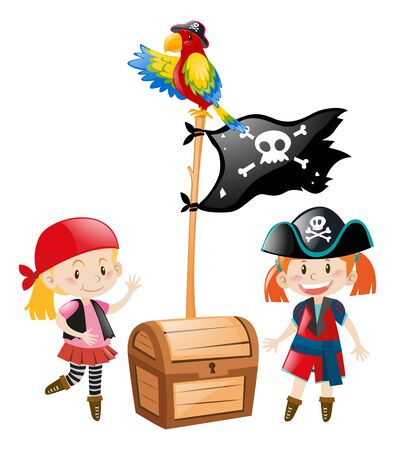 pirate crew: Two pirate crews and flag illustration