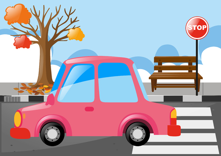Pink car on the road illustration