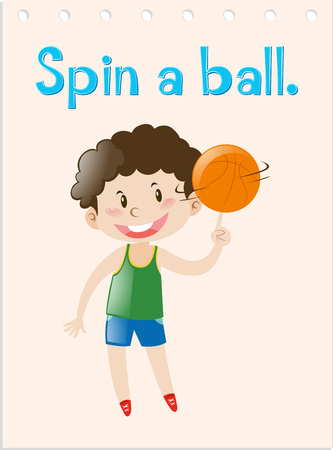 Action wordcard with boy spinning ball illustration Illustration