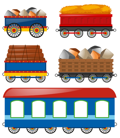 bogie: Carraige carts loaded with different things illustration