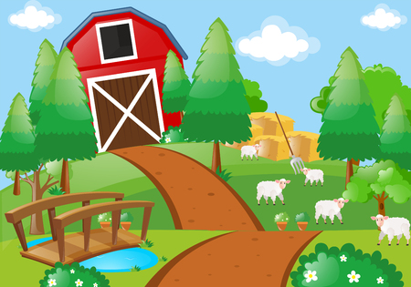 Farm scene with sheeps in the field illustration