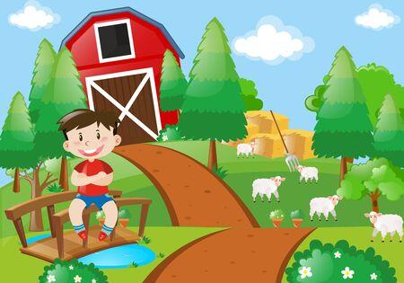 Boy smiling in the farm illustration