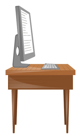 Personal computer and keyboard on table illustration