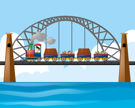 Train loaded with logs and stones on the bridge illustration