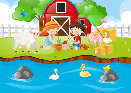 Two kids planting tree by the river illustration