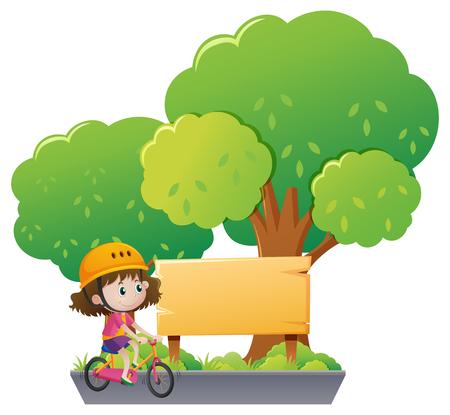 Girl riding bike in the park illustration Illustration