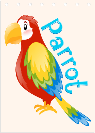 Wordcard with word and picture parrot illustration Illustration