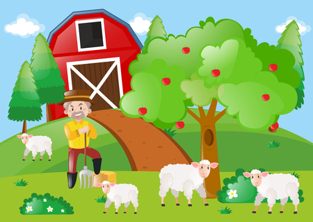 Farmer and sheeps in the field illustration