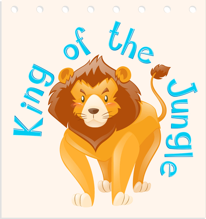 Wordcard for king of the jungle illustration