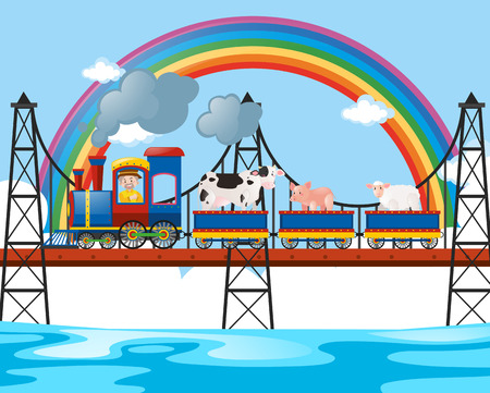 transportaion: Animals riding on the train over the bridge illustration Illustration