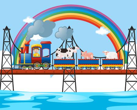 Animals riding on the train over the bridge illustration Illustration