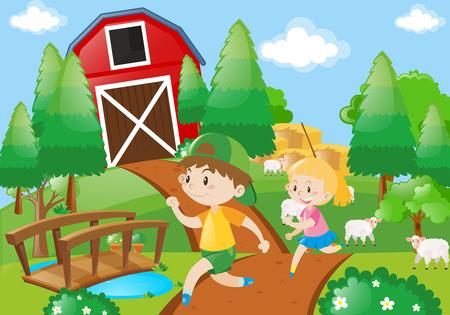 Farm scene with kids running in the field illustration Illustration
