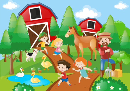 Many children and farmer in the farmyard illustration