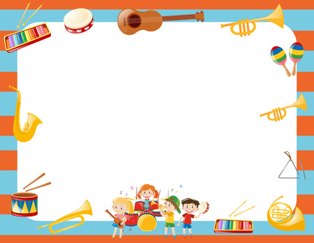 triangle musical instrument: Border template with musical instruments illustration