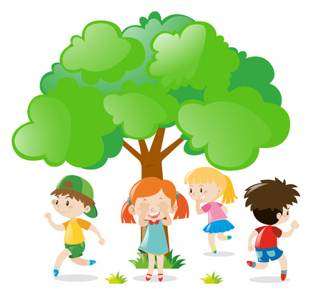 Kids playing hide and seek in the park illustration