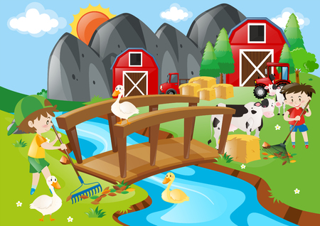 Two boys and many animals in the farm illustration