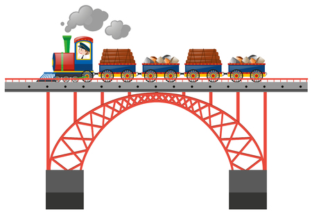 goods train: Train loaded with goods on the bridge illustration Illustration