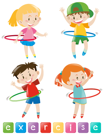 hulahoop: Four kids exercising with hulahoop illustration Illustration